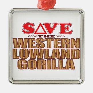 Lowland Gorilla Save Silver-Colored Square Decoration