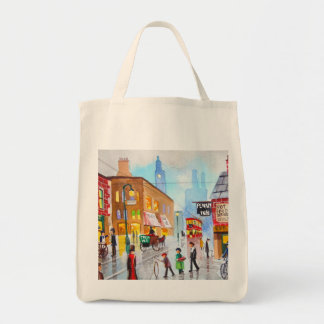 Lowry inspired busy street scene painting tram grocery tote bag