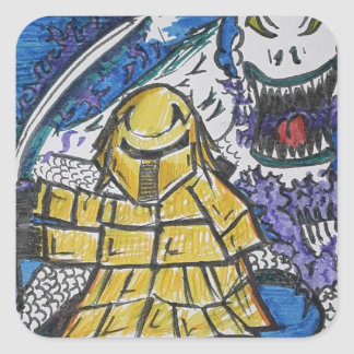 Loyal Samurai Angry Dragon Square Sticker