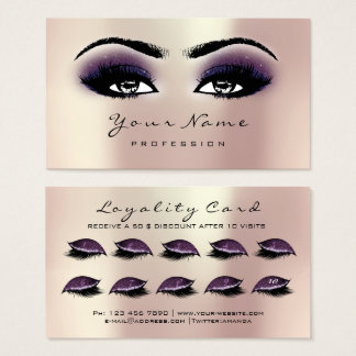 Loyalty Card 10 Makeup Lashes Extension Pink Plum