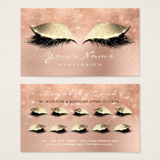 Loyalty Card 10 Makeup Lashes Pink Rose Gold Lux