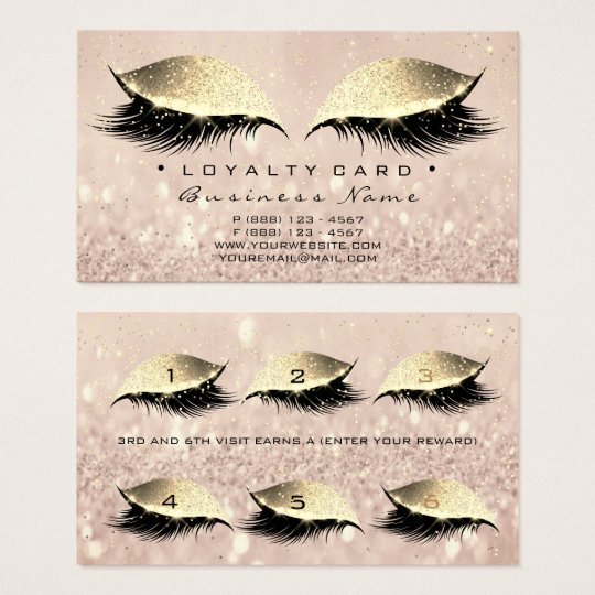 Loyalty Card 6 Beauty Salon Lashes Extensi Makeup