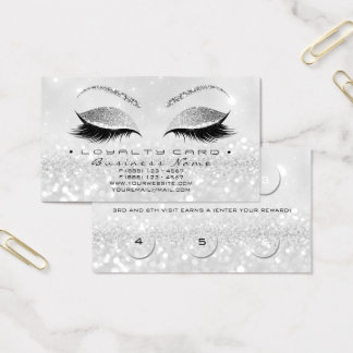 Loyalty Card 6 Beauty Salon Lashes Glitter Gray2