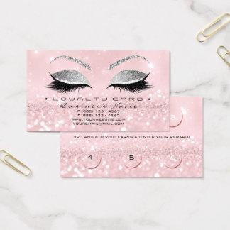 Loyalty Card 6 Beauty Salon Lashes Glitter Pink