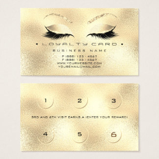 Loyalty Card 6 Beauty Salon Lashes Gold Glitter