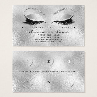 Loyalty Card 6 Beauty Salon Lashes Silver Glitter