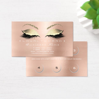 Loyalty Card 6 Beauty Salon Lashes Skin Pink VIP
