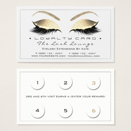 Loyalty Card 6 Beauty Salon Lashes White Gold Blac