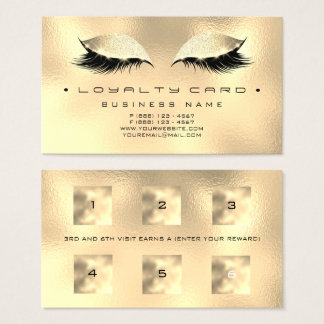 Loyalty Card 6 Beauty Salon Makeup Glass Gold