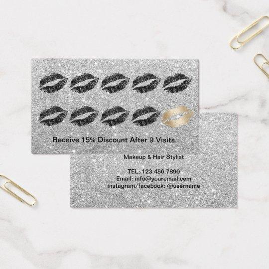 Loyalty Card Makeup Artist Modern Silver Glitter