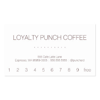 Loyalty Coffee Punch-Card Pack Of Standard Business Cards