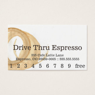 Loyalty News Font Coffee Stain Punchcard Business Card