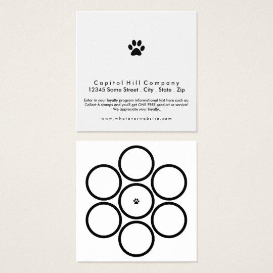 loyalty program pet paw square square business card