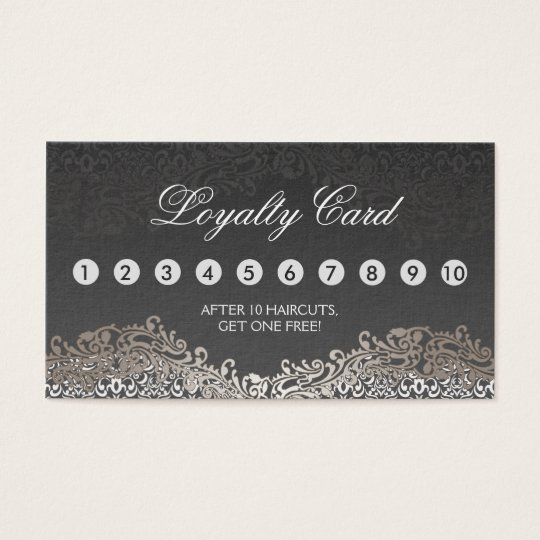 Loyalty Punch Card - Elegant Vintage Silver Damask