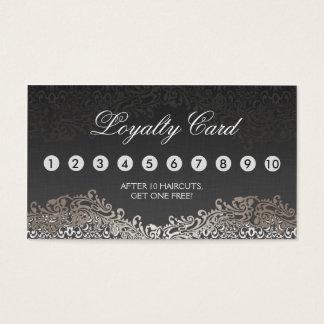 Loyalty Punch Card - Elegant Vintage Silver Damask