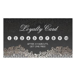 Loyalty Punch Card - Elegant Vintage Silver Damask Pack Of Standard Business Cards