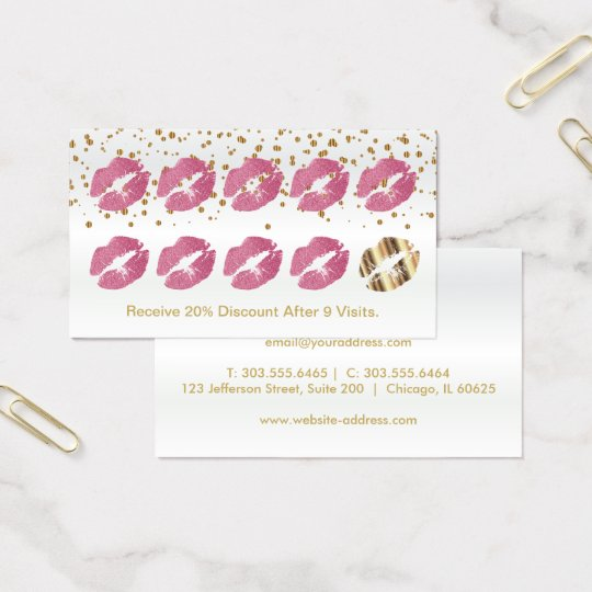 Loyalty Punch Card Pretty Pink Glitter and Gold