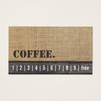 Loyalty Punch Card | Rustic Burlap & Wood Coffee