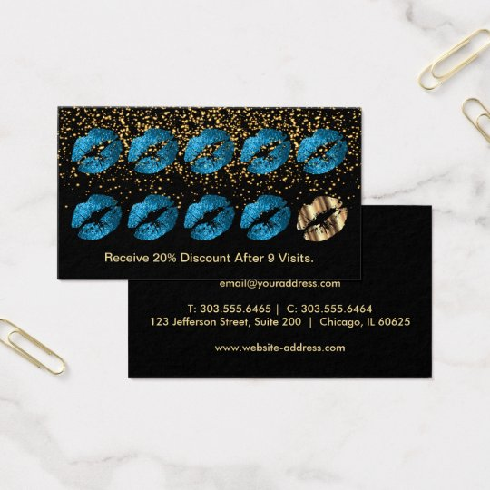 Loyalty Punch Card - Turquoise Blue Glitter