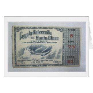 Loyola vs. Santa Clara Football Game Ticket (1936) Greeting Card