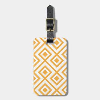 Lozenge shaped geometric pattern luggage tag