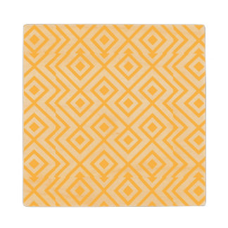 Lozenge shaped geometric pattern maple wood coaster