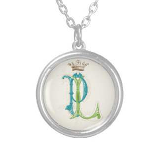 LP or PL Monogram with Crown Silver Plated Necklace
