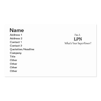 LPN PACK OF STANDARD BUSINESS CARDS
