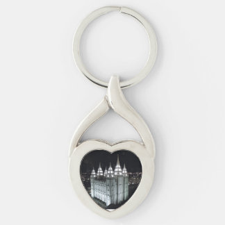 LSD Salt Lake Temple at night. Silver-Colored Twisted Heart Key Ring