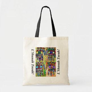 L'Shanah Tovah Gift/Tote Bag - Batik Judaica Hamsa