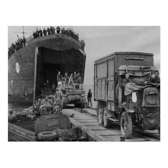 LST 368 unloading in Anzio Postcard