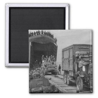 LST 368 unloading in Anzio Square Magnet