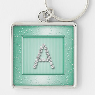 Lt Aqua Shimmer and Sparkle with Monogram Silver-Colored Square Key Ring
