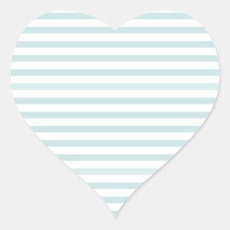 Lt. Blue and White Horizontal Stripe Heart Sticker