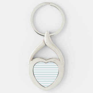 Lt. Blue and White Horizontal Stripe Silver-Colored Twisted Heart Key Ring