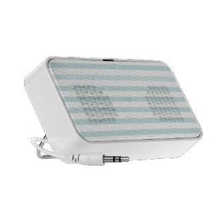 Lt. Blue and White Horizontal Stripe Travelling Speaker