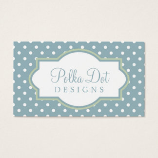 Lt. Blue Green & White Polka Dot Business Cards