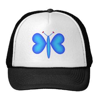 Lt-Blue Neon Hearts Butterfly Cap