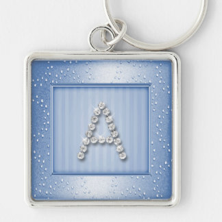 Lt Blue Shimmer and Sparkle with Monogram Silver-Colored Square Key Ring