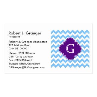 Lt Blue White Chevron Purple Quatrefoil Monogram Pack Of Standard Business Cards