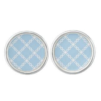 Lt Blue White Large Fancy Quatrefoil Pattern Cuff Links