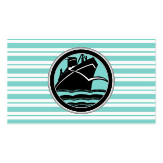 Lt Blue White Striped Black Cruise Ship Nautical Business Cards