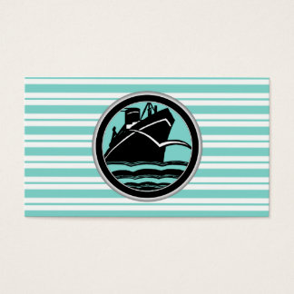 Lt Blue White Striped Black Cruise Ship Nautical Business Card