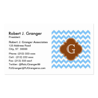 Lt Blue Wht Chevron Brown Quatrefoil Monogram Pack Of Standard Business Cards
