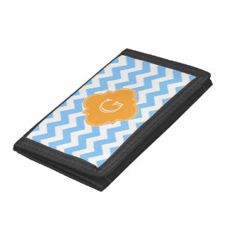 Lt Blue Wht Chevron Cantaloupe Quatrefoil Monogram Tri-fold Wallets