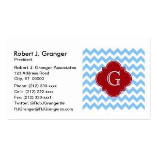 Lt Blue Wht Chevron Cranberry Quatrefoil Monogram Pack Of Standard Business Cards
