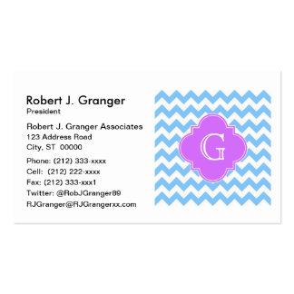 Lt Blue Wht Chevron Lilac Quatrefoil Monogram Pack Of Standard Business Cards