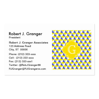 Lt Blue Yellow White 3D Look Cubes Custom Monogram Pack Of Standard Business Cards