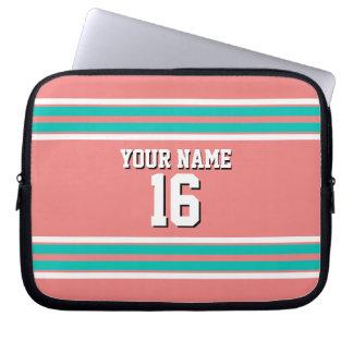Lt Coral Teal White Team Jersey Custom Number Name Computer Sleeves