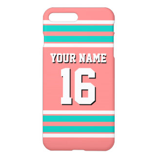 Lt Coral Teal White Team Jersey Custom Number Name iPhone 7 Plus Case